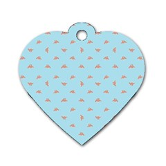 Spaceship Cartoon Pattern Drawing Dog Tag Heart (Two Sides)