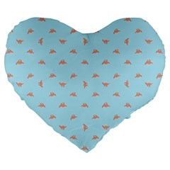 Spaceship Cartoon Pattern Drawing Large 19  Premium Flano Heart Shape Cushions