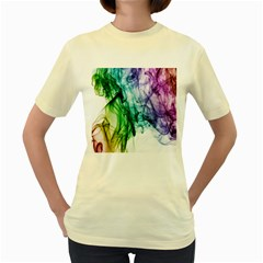 Colour Smoke Rainbow Color Design Women s Yellow T Shirt