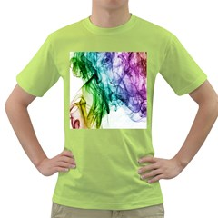 Colour Smoke Rainbow Color Design Green T Shirt