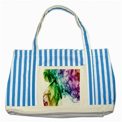 Colour Smoke Rainbow Color Design Striped Blue Tote Bag