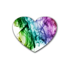 Colour Smoke Rainbow Color Design Heart Coaster (4 pack)