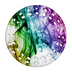 Colour Smoke Rainbow Color Design Round Filigree Ornament (Two Sides)