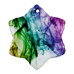 Colour Smoke Rainbow Color Design Snowflake Ornament (two Sides)