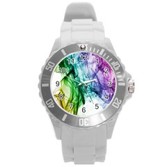 Colour Smoke Rainbow Color Design Round Plastic Sport Watch (L)