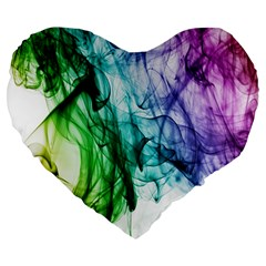 Colour Smoke Rainbow Color Design Large 19  Premium Heart Shape Cushions