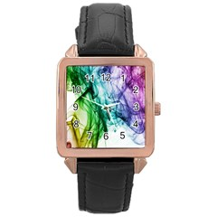 Colour Smoke Rainbow Color Design Rose Gold Leather Watch