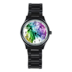 Colour Smoke Rainbow Color Design Stainless Steel Round Watch