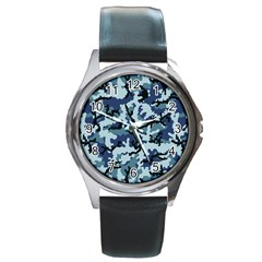 Navy Camouflage Round Metal Watch