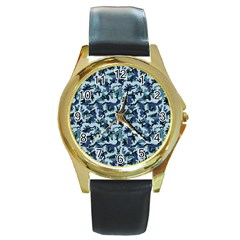 Navy Camouflage Round Gold Metal Watch