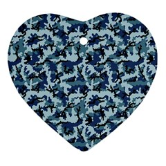 Navy Camouflage Heart Ornament (Two Sides)
