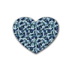 Navy Camouflage Rubber Coaster (Heart)