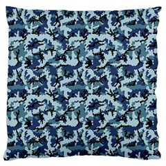 Navy Camouflage Large Flano Cushion Case (Two Sides)