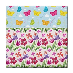 Watercolor flowers and butterflies pattern Tile Coasters