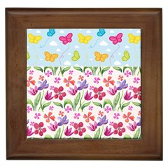 Watercolor flowers and butterflies pattern Framed Tiles