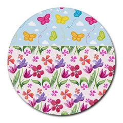 Watercolor flowers and butterflies pattern Round Mousepads
