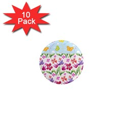 Watercolor flowers and butterflies pattern 1  Mini Magnet (10 pack)