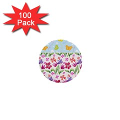 Watercolor flowers and butterflies pattern 1  Mini Buttons (100 pack)