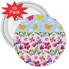 Watercolor flowers and butterflies pattern 3  Buttons (10 pack)