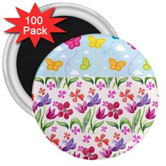 Watercolor flowers and butterflies pattern 3  Magnets (100 pack)