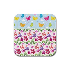 Watercolor flowers and butterflies pattern Rubber Coaster (Square)
