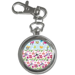 Watercolor flowers and butterflies pattern Key Chain Watches