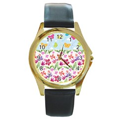 Watercolor flowers and butterflies pattern Round Gold Metal Watch