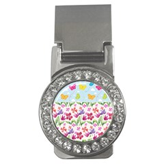 Watercolor flowers and butterflies pattern Money Clips (CZ)