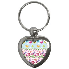 Watercolor flowers and butterflies pattern Key Chains (Heart)