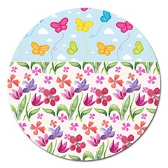 Watercolor flowers and butterflies pattern Magnet 5  (Round)