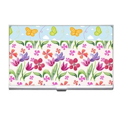 Watercolor flowers and butterflies pattern Business Card Holders