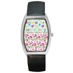 Watercolor flowers and butterflies pattern Barrel Style Metal Watch