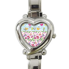 Watercolor flowers and butterflies pattern Heart Italian Charm Watch