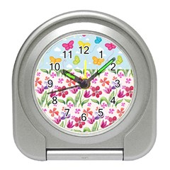 Watercolor flowers and butterflies pattern Travel Alarm Clocks