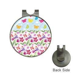 Watercolor flowers and butterflies pattern Hat Clips with Golf Markers