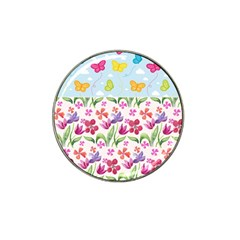 Watercolor flowers and butterflies pattern Hat Clip Ball Marker