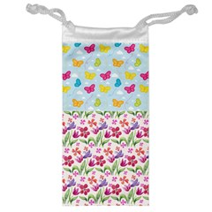 Watercolor flowers and butterflies pattern Jewelry Bag