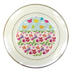 Watercolor flowers and butterflies pattern Porcelain Plates