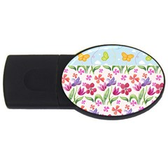 Watercolor flowers and butterflies pattern USB Flash Drive Oval (4 GB)
