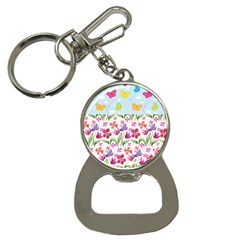 Watercolor flowers and butterflies pattern Button Necklaces