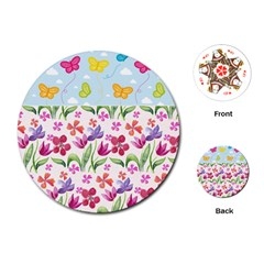 Watercolor flowers and butterflies pattern Playing Cards (Round)