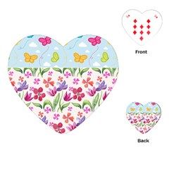 Watercolor flowers and butterflies pattern Playing Cards (Heart)