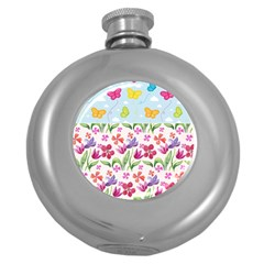 Watercolor flowers and butterflies pattern Round Hip Flask (5 oz)