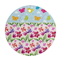 Watercolor flowers and butterflies pattern Round Ornament (Two Sides)