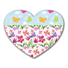 Watercolor flowers and butterflies pattern Heart Mousepads