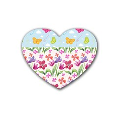 Watercolor flowers and butterflies pattern Rubber Coaster (Heart)