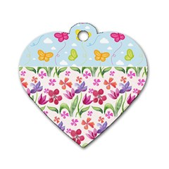 Watercolor flowers and butterflies pattern Dog Tag Heart (One Side)