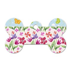 Watercolor flowers and butterflies pattern Dog Tag Bone (Two Sides)