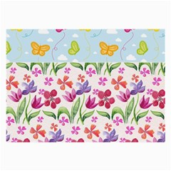 Watercolor flowers and butterflies pattern Large Glasses Cloth (2-Side)
