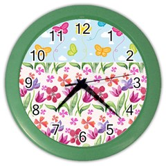 Watercolor flowers and butterflies pattern Color Wall Clocks
